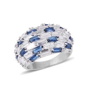 Jewelry - Blue and White CZ Silvertone Ring